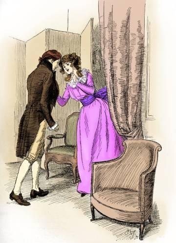 Ilustración de Hugh Thomson de una escena de la novela 'Sentido y sensibilidad'.