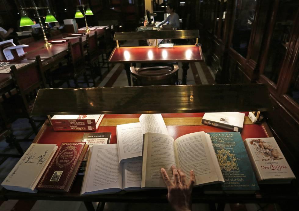 'El Quijote' en diferentes idiomas que atesora la biblioteca del Congreso de los Diputados, Madrid.
