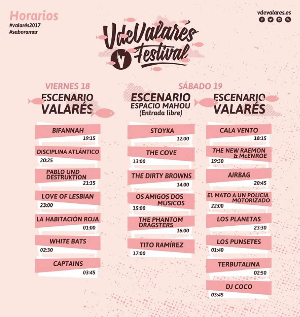 Cartel y horarios del Festival V de Valarés