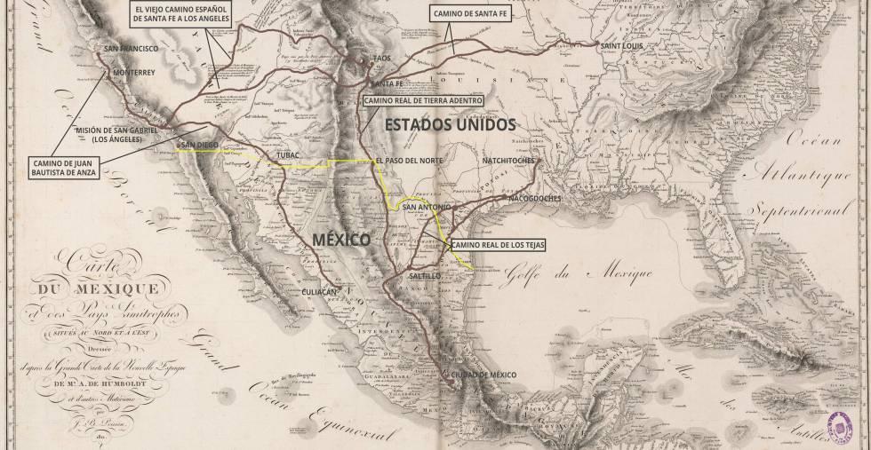 Los cinco Senderos Históricos Nacionales españoles, trazados por Alexander von Humboldt en 1811.