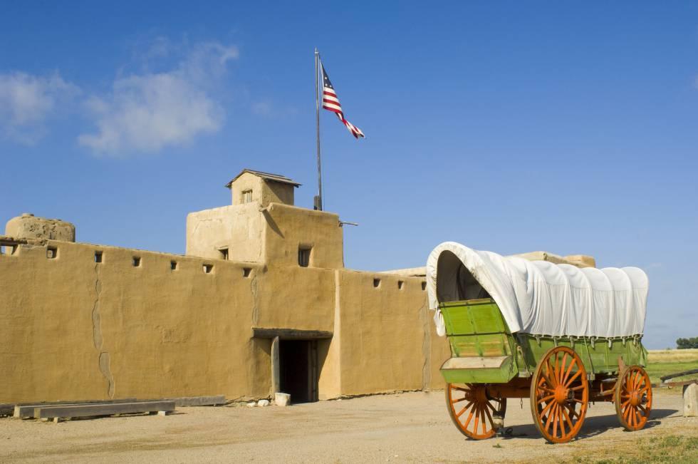 Fuerte de adobe de 1840 reconstruido en Santa Fe.