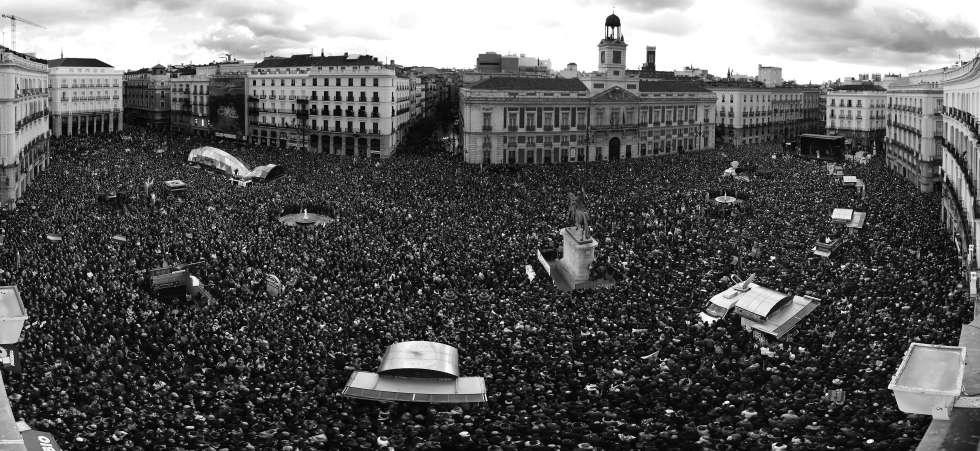 Marcha por el centro de Madrid organizada por Podemos en 2015.