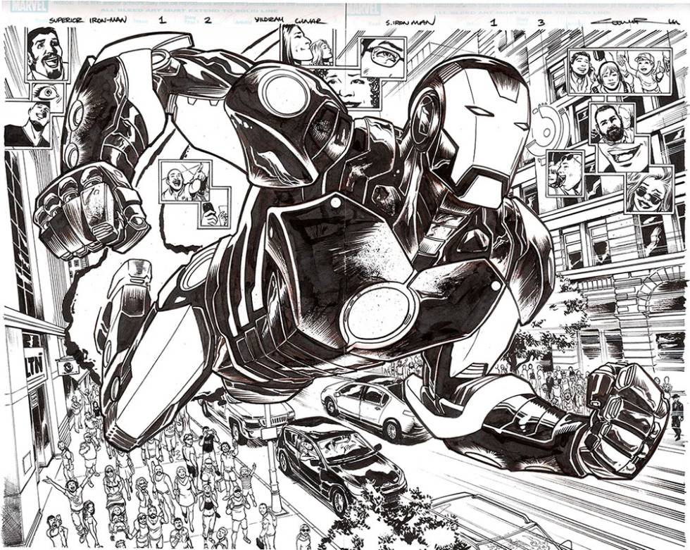 Iron Man en 'splash-page' de Yildirai Çinar.