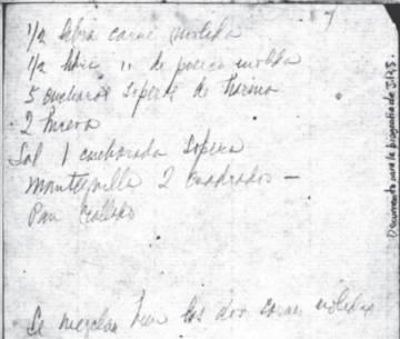 Receta de albóndigas manuscrita por Zenobia.