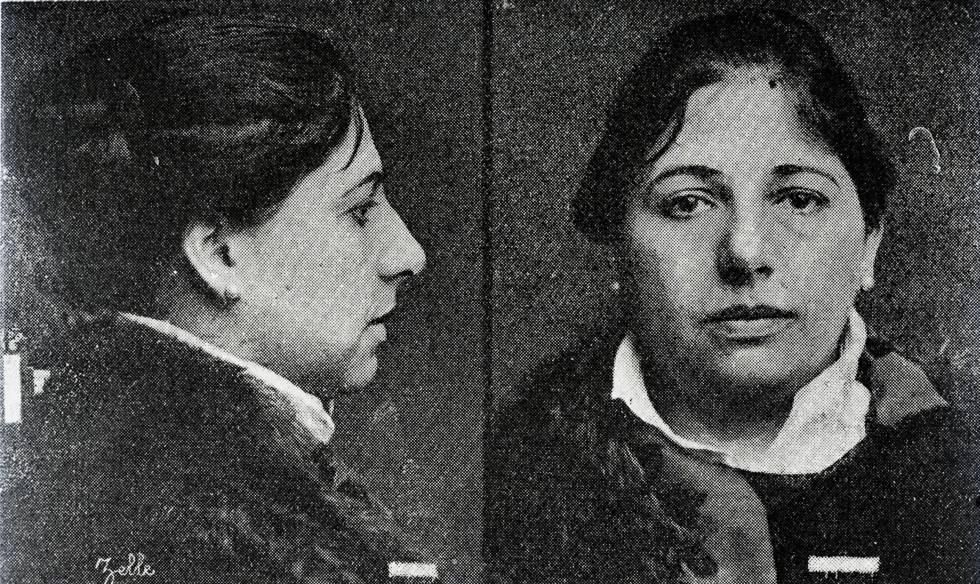 Mata Hari en la ficha policial luego de su arresto