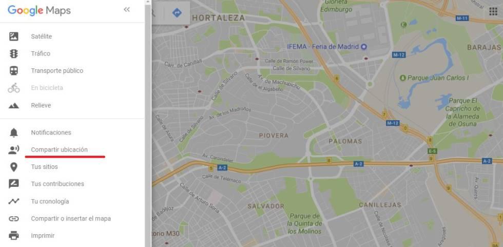 Google Maps permite compartir tu ubicación