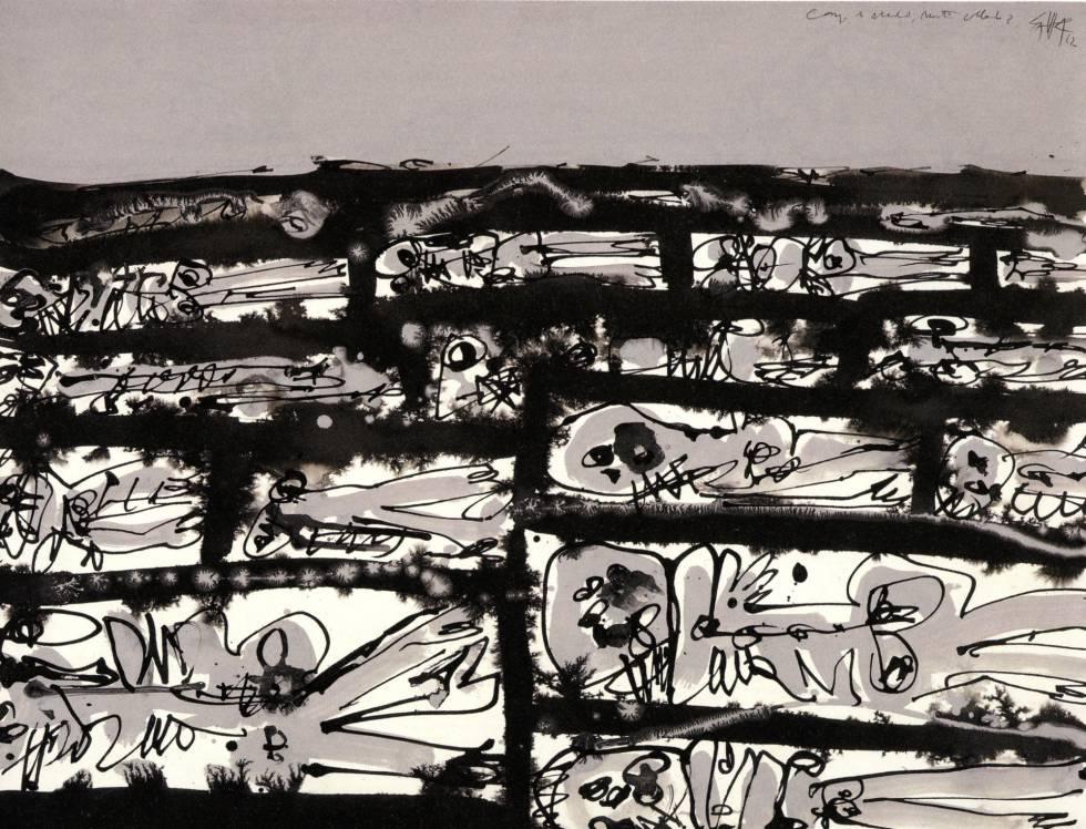 Republicanos enterrados en fosas comunes en una de las obras incluidas en el volumen 'Mentira y sueño de Franco', de Antonio Saura.