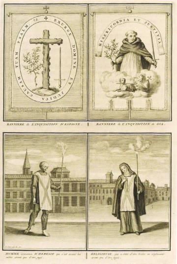 Escudos del Santo Oficio y sambenitos. Grabados del impresor Bernard Picart para el libro 'Ceremonies et coutumes religieuses de tous les peuples du monde'. Ámsterdam, 1723.