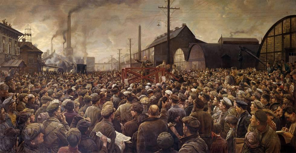 'Lenin habla a los trabajadores de la fábrica Putilov en Petrogrado en 1917', obra de Isaak Brodsky.