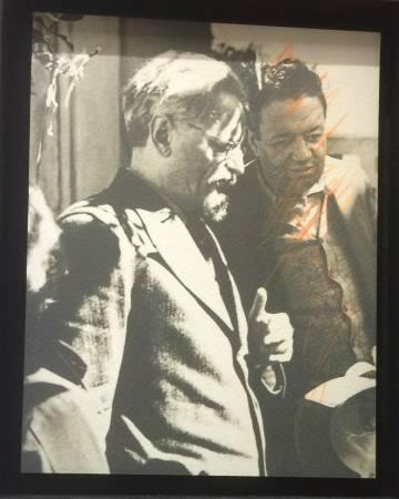 Trotsky junto a Rivera, este último rayado por Natalia Sedova tras su distanciamiento