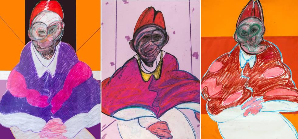 Desde la izquierda, 'Pope' (1992), 'Pope' (1979), 'Pope' (1991), dibujos de Francis Bacon.