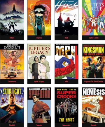 'Colagem' de capas do Millarworld comprado pela Netflix.