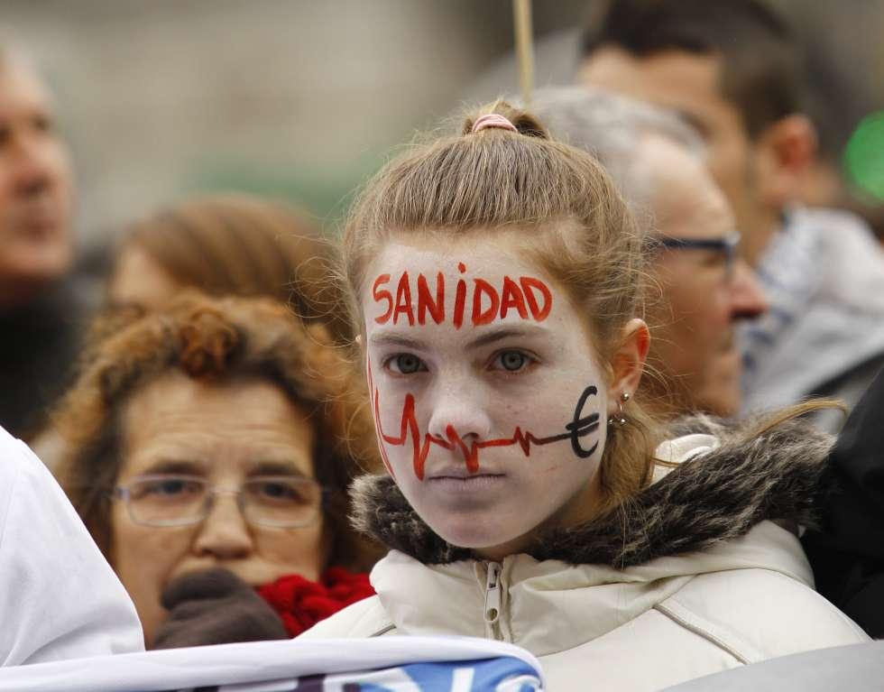 Protesta a favor de la sanidad pública, en Madrid en 2013.