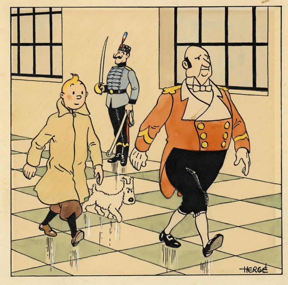 El dibujode Tintin subastado hoy en París.