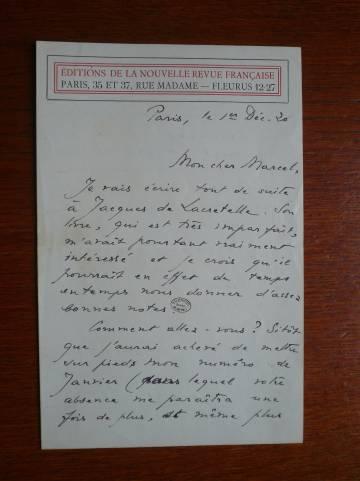 Carta de Marcel Proust a su editor y amigo Jacques Rivière.