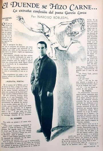 Entrevista con el poeta en la publicación argentina 'Aconcagua', en 1933.