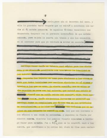 Página corregida de 'Crónica de una muerte anunciada'.