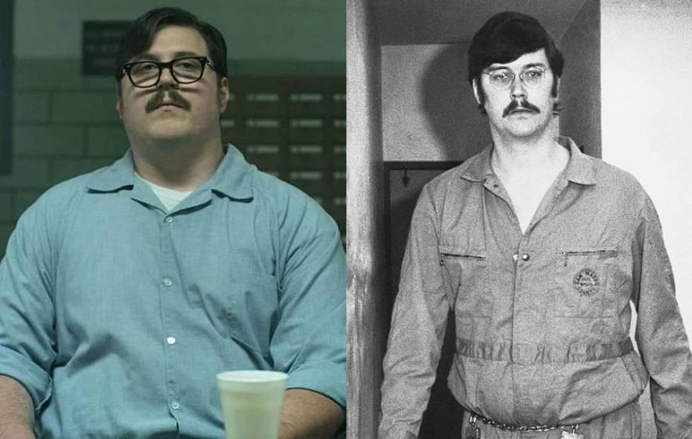 A la izquierda, Cameron Britton como Ed Kemper en 'Mindhunter'. A la derecha, el auténtico Kemper.