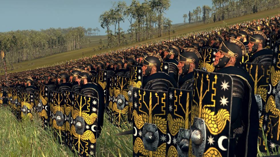 Los pretorianos desplegados en campaña, según la reconstrucción de un juego de ordenador.
