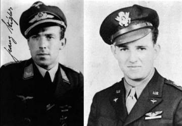 El piloto alemán Franz Stigler y el estadounidense Charles Brown