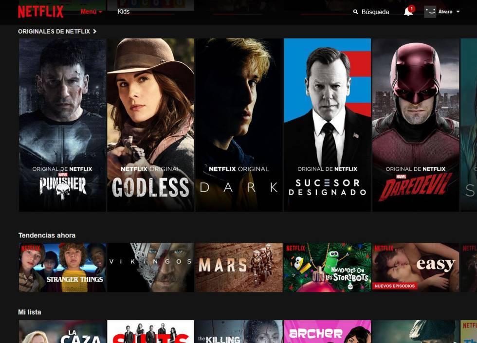 Página de inicio de Netflix.