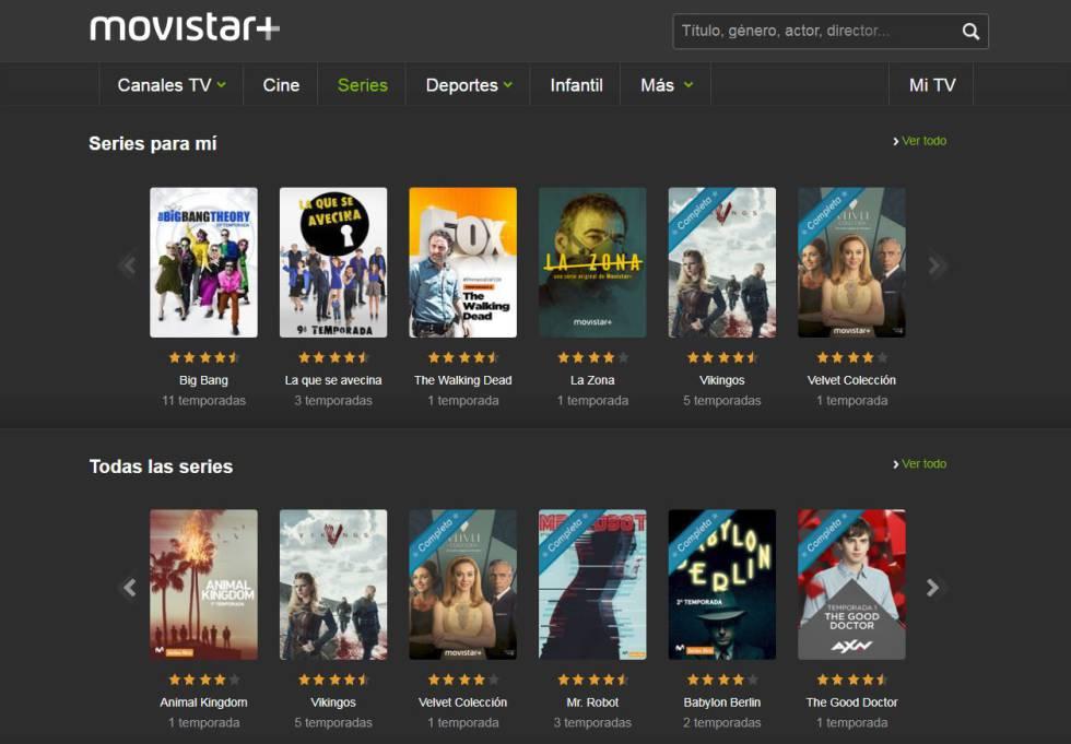 Página de inicio de Movistar + en su aplicación.