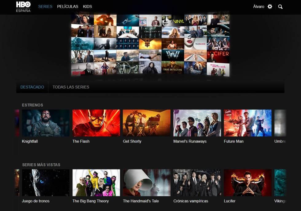 Página de inicio de HBO España.