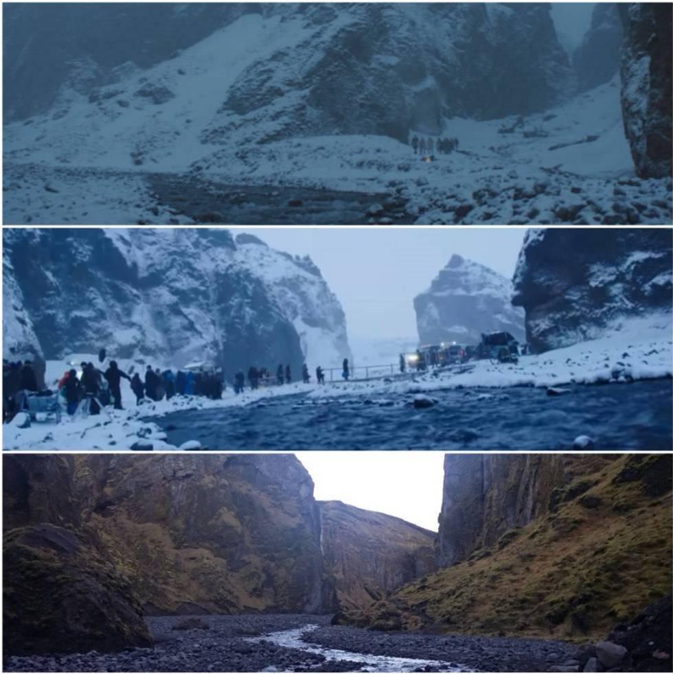 Arriba, este lugar en la serie. En el medio, durante el rodaje del capítulo, con el puente que tuvieron que instalar. Abajo, su estado a finales de octubre, sin rastro de nieve y mucha menos agua.