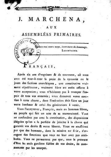 Alocución de Marchena en Francia.