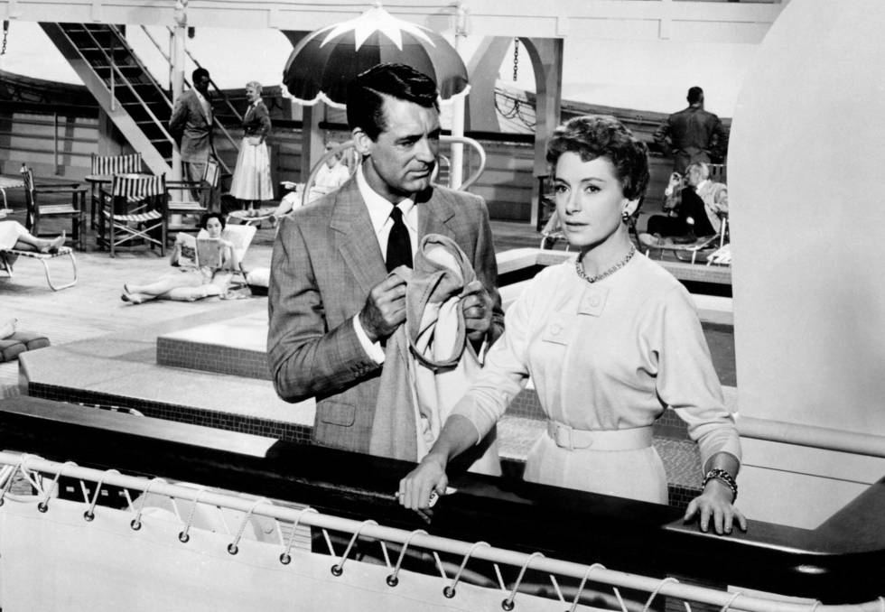 Cary Grant y Deborah Kerr en el 'SS United States' en 'An affair to remember'.