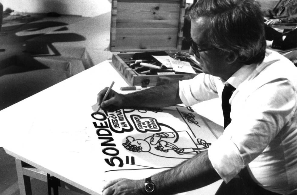 Antonio Fraguas Forges realiza un dibujo alusivo a unos resultados electorales, posiblemente del 82.