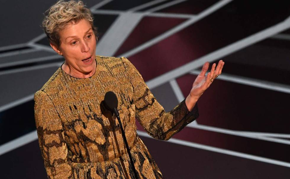 Frances McDormand during her acceptance speech.
