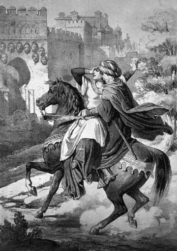 Almanzor muestra a Asma la cabeza de su padre Galib, clavada en la puerta de Medina Al Zahira. Litografía reproducida en 'Almanzor', de Laura Bariani (Nerea).