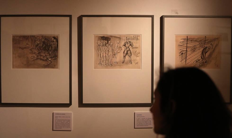 Copias de los dibujos de Helga Weissová, ayer en el Centro Sefarad de Madrid.