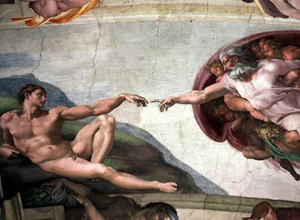 'La creación del hombre', fresco de Miguel Ángel en la Capilla Sixtina.