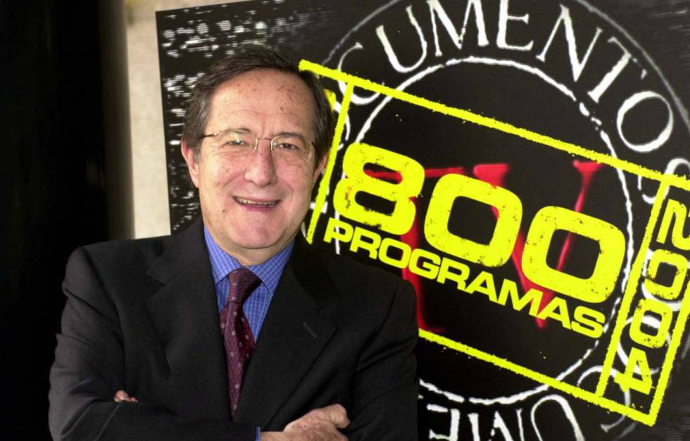 Pedro Erquicia durante la presentación de las 800 emisiones de 'Documentos TV' en 2004.