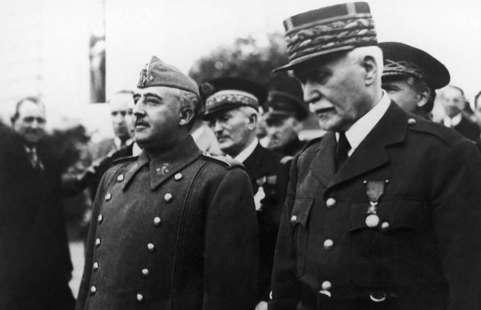 Franco y el mariscal Pétain, en febrero de 1941 en Montepellier.