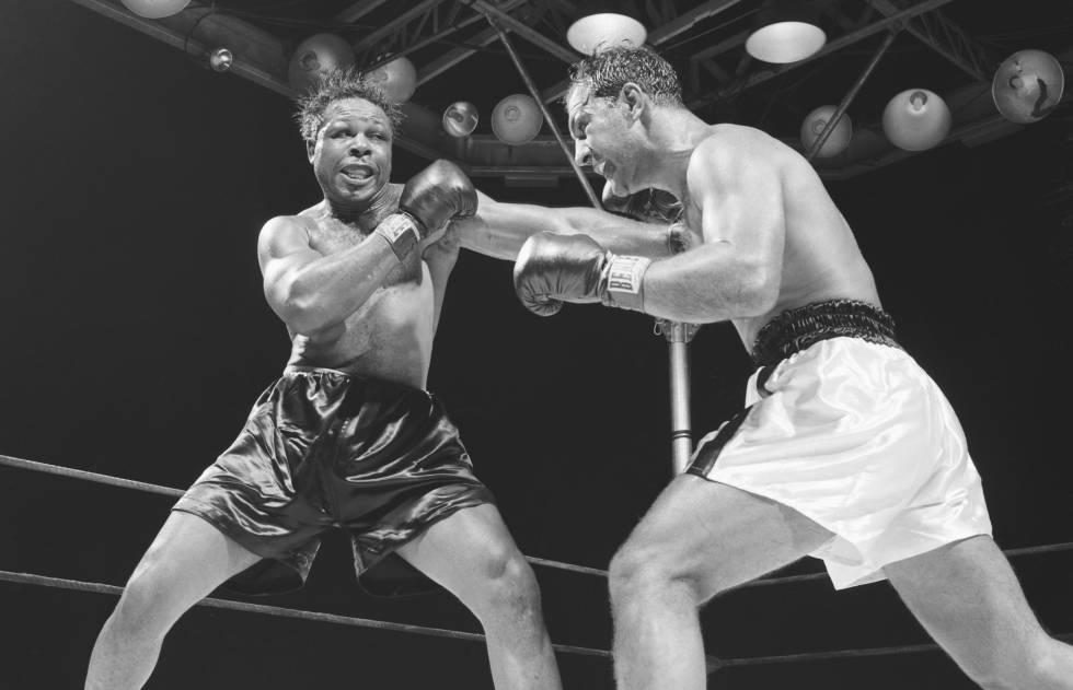 Combate entre Archie Moore (izquierda) y Rocky Marciano en 1955.