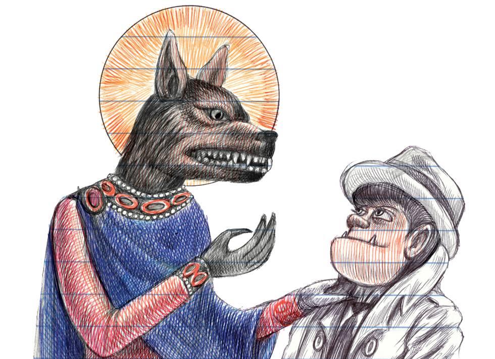 La niña-lobo Karen Reyes con San Cristóbal, en 'Lo que me gusta son los monstruos'.