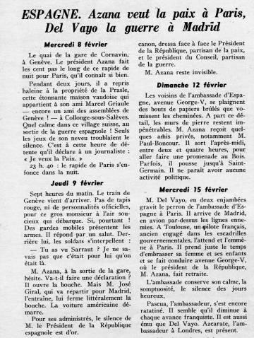 Diario de Chaves Nogales sobre la actividad de Manuel Azaña, en París.