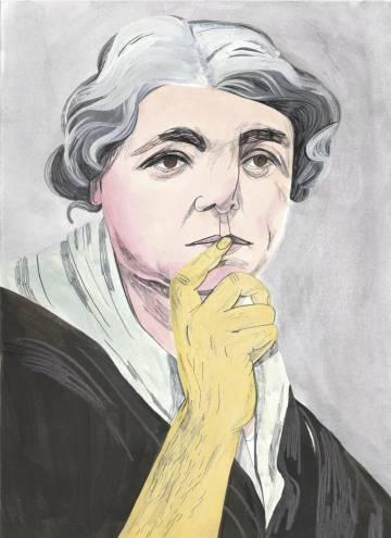 La escritora María Lejárraga, dibujada por María Herreros.