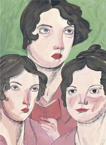 Las escritoras Anne, Emily y Charlotte Brontë, dibujadas por María Herreros.