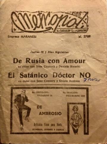 Programa del cine Metropol de los años 60.