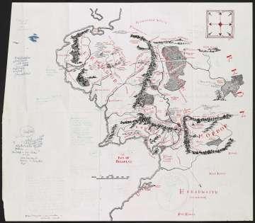 Mapa de la Tierra Media, anotado por Tolkien, reproducido en El señor de los anillos.
