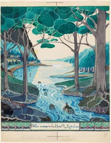 Acuarela de Tolkien para la primera edición de 'El Hobbit' (1973).