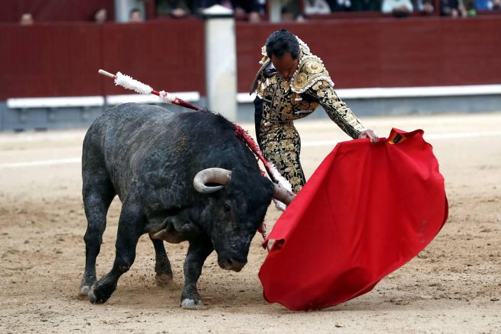 El diestro colombiano Luis Bolívar da un pase a su primer toro.