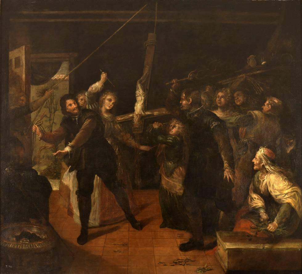 Profanación de un crucifijo (Familia de herejes azotando un crucifijo), de Francisco Rizi.
