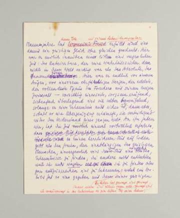 Una hoja manuscrita de Stefan Zweig.