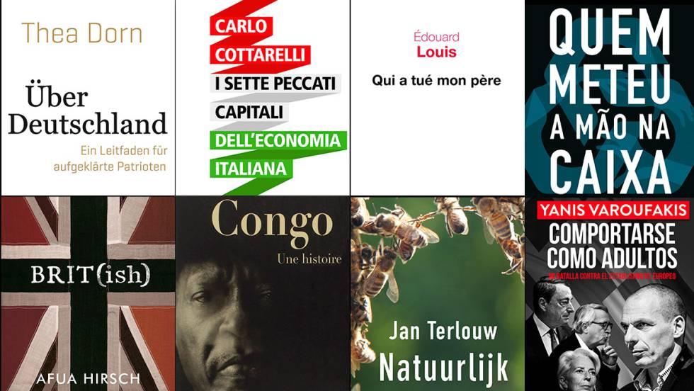 De izquierda a derecha y de arriba a abajo, portadas de los libros publicados en Alemania, Italia, Francia, Portugal, Reino Unido, Bélgica, Holanda y Grecia que se citan en estas páginas.