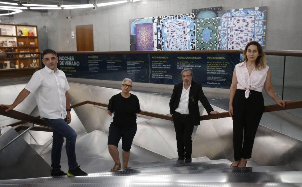 Ganadores de los Premios Arte y Mecenazgo 2018. Desde la izquierda, Mira Bernabéu, Dora García, Carlos Rosón y Miriam Lozano.